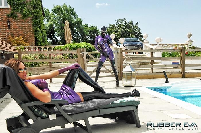 Purple Pool Side Rubber Fucking